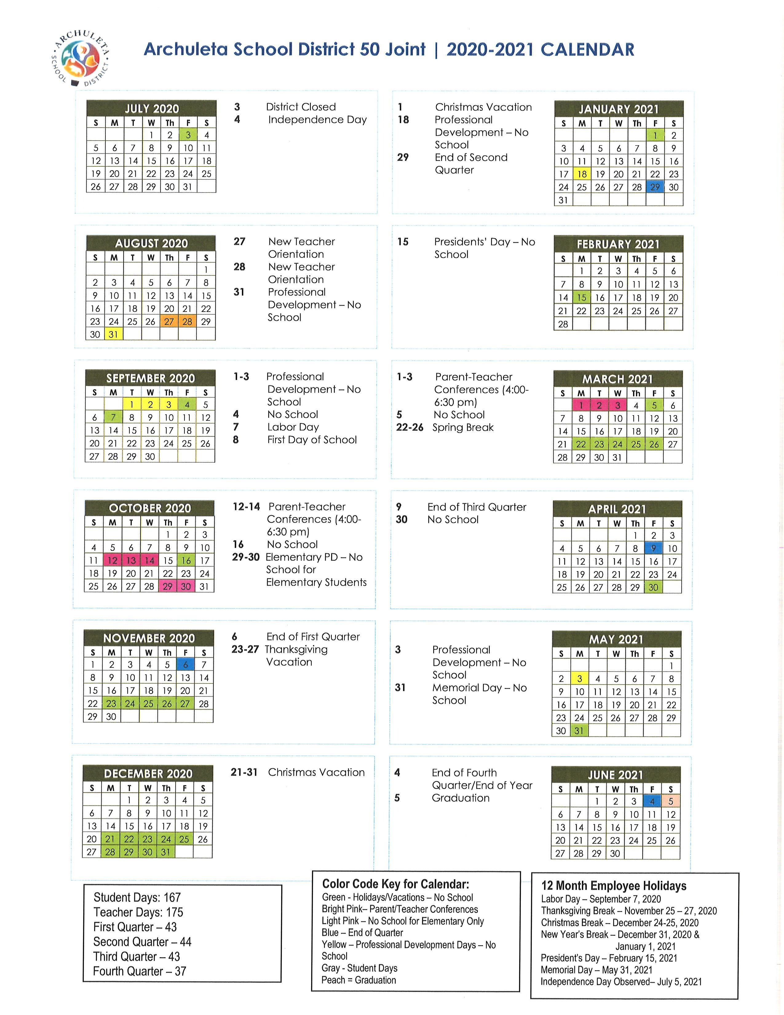 District Calendar – Parents/Students – Pagosa Springs Elementary