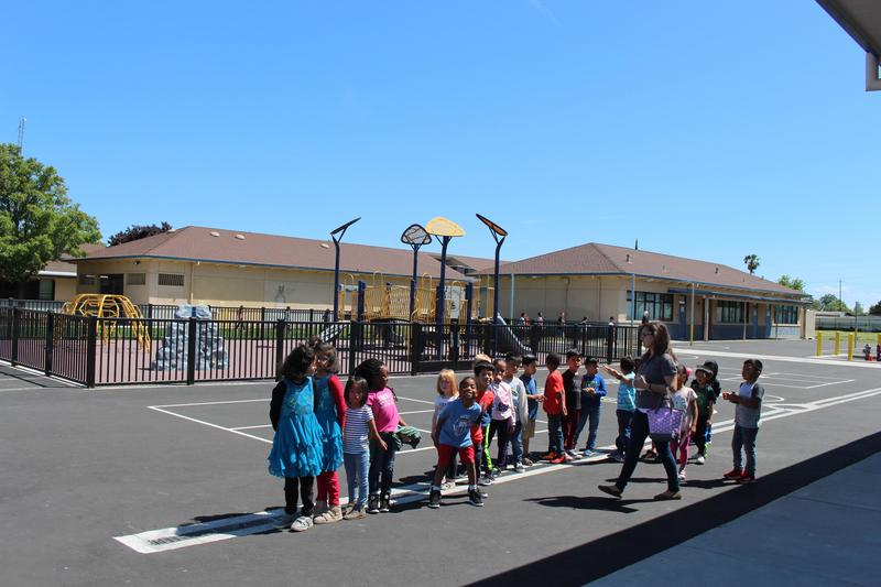 Students lining up for recess