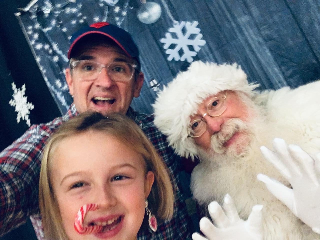 Mr. B., Eden Jane, and Santa