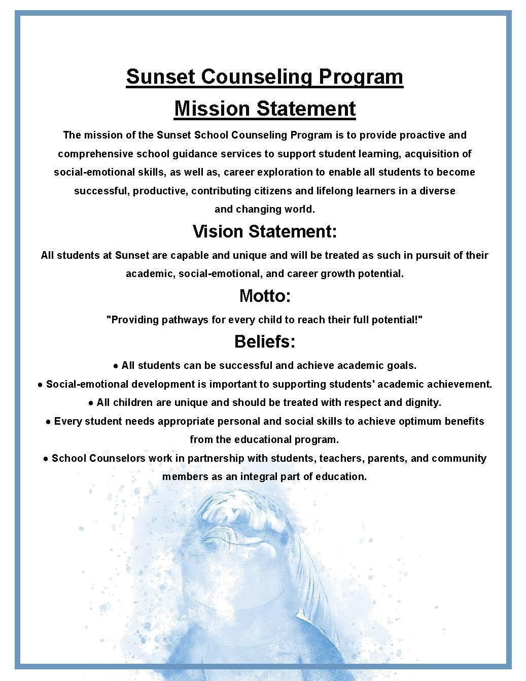 Updated Sunset Counseling Mission Statement