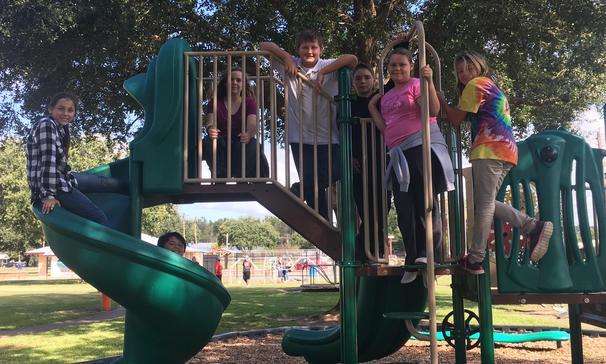 students on slide