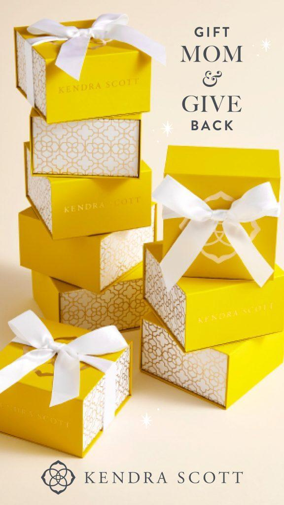 Kendra Scott Yellow Boxes with text that says Gift Mom & Give Back