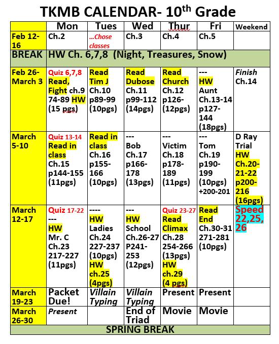 Eng 2 Triad 4 Calendar