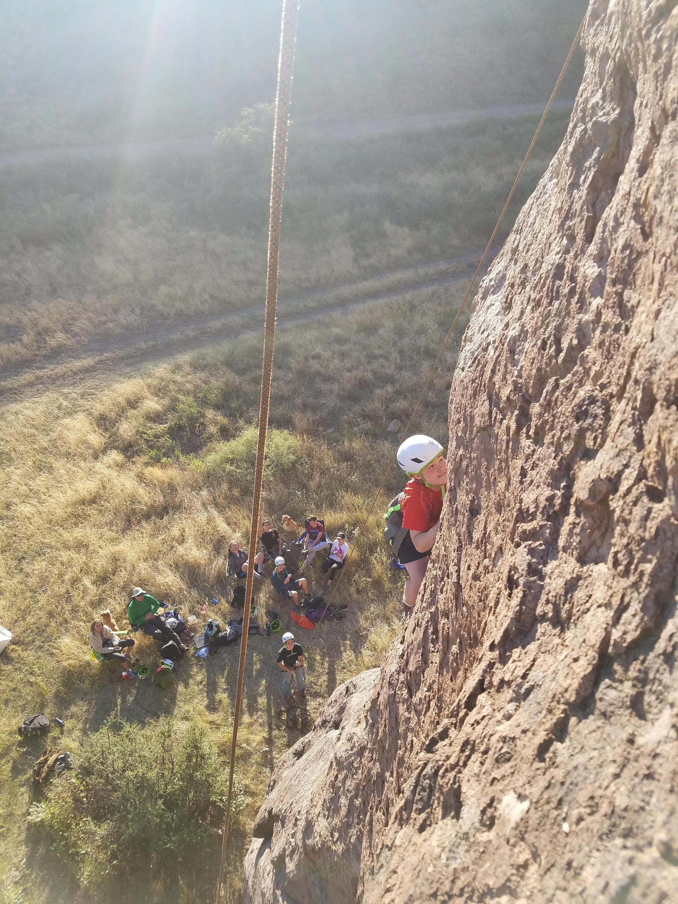 Student rock climbing
