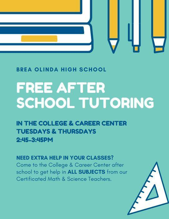 After School Tutoring Tuesdays and Thursdays 2:45-3:45pm