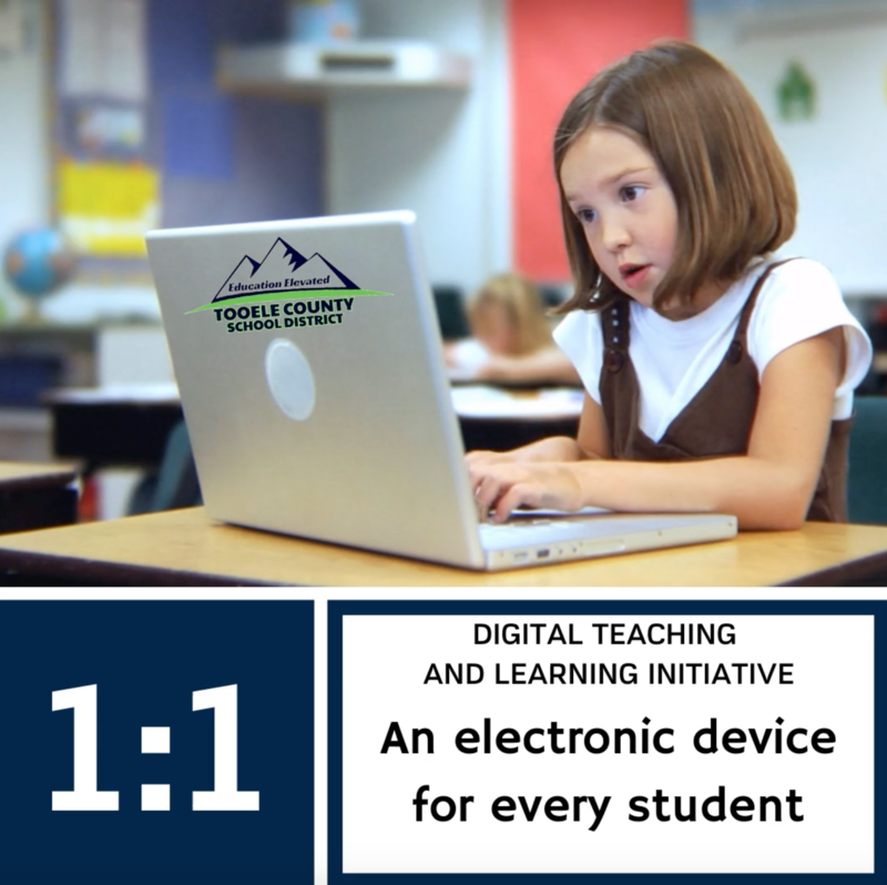 image of girl at computer with 1 to 1 device, an electronic device for every student.