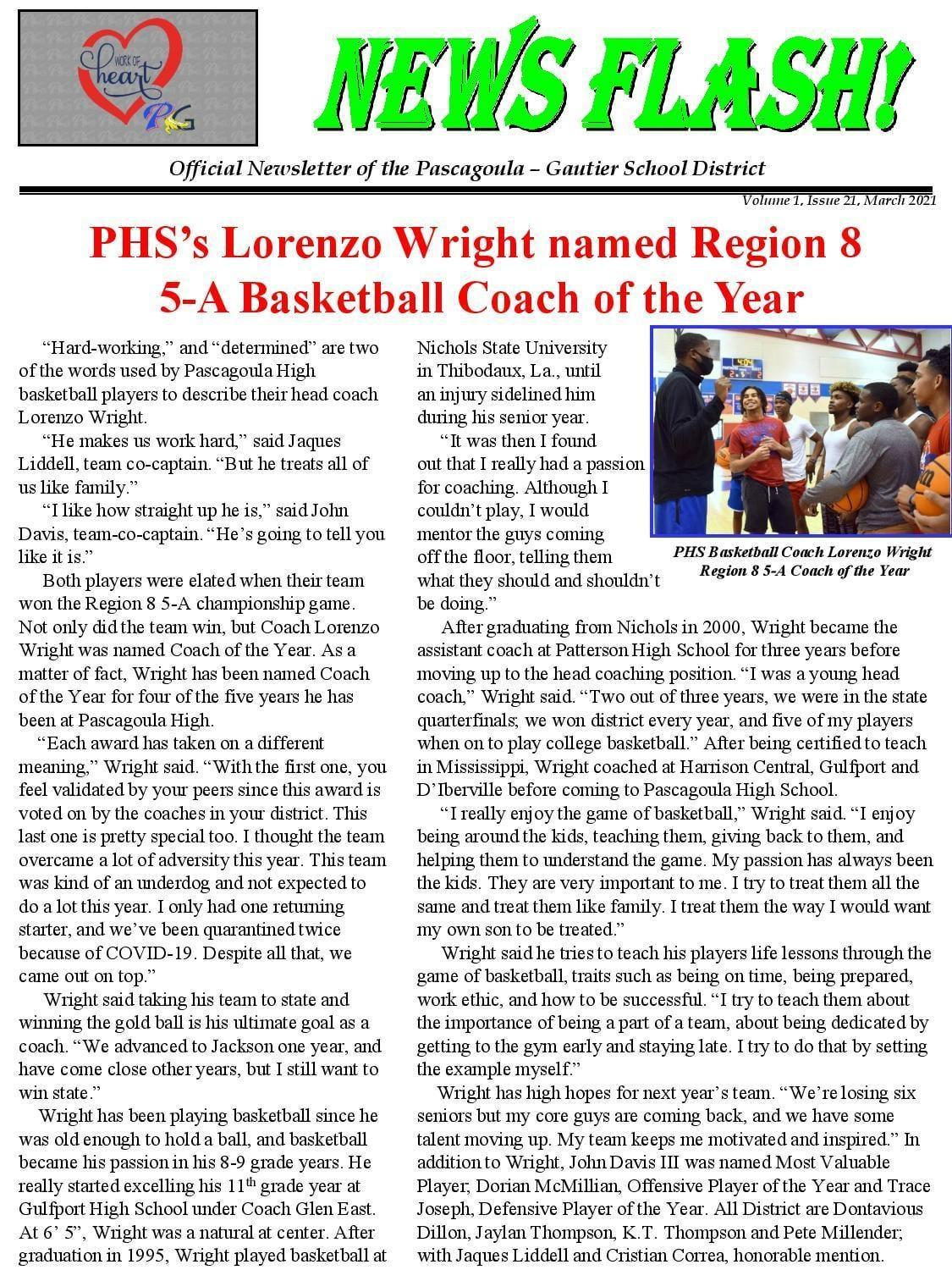PHS Coach Lorenzo Wright Named Region 8 5A Basketball Coach of the Year