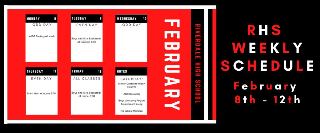 Weekly Schedule 2-8-21