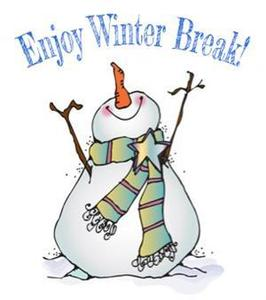 An image of a snowman with a scarf smiling with his hands up and the words enjoy winter break above the snowman