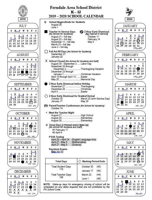 2019 - 2020 K-12 School Calendar