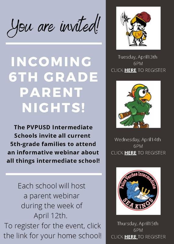 ncoming 6th Grade Parent Night Webinar - Registration Required