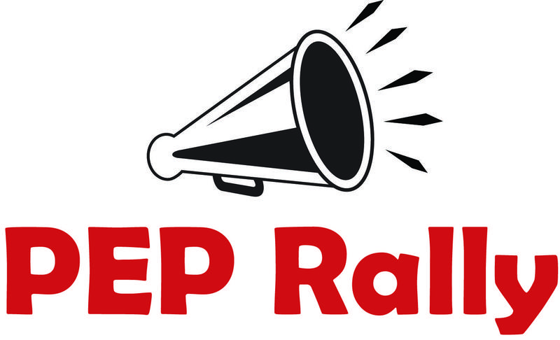 Clip art megaphone with PEP Rally below in red