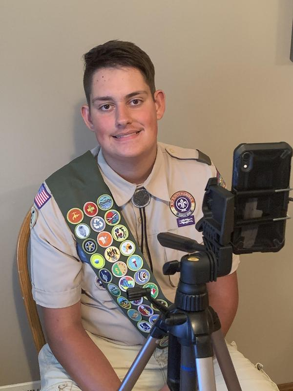 Pic of Jacob Mock at his computer in uniform