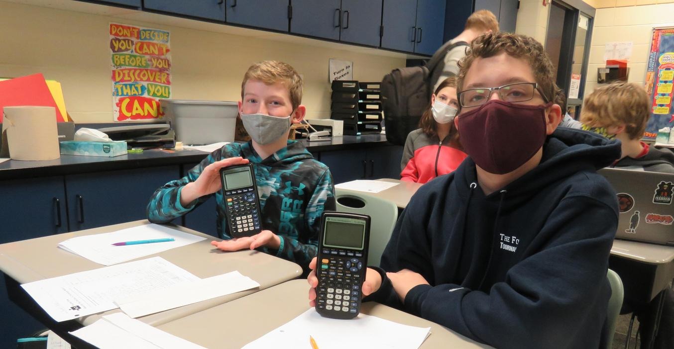 TKMS students work with graphing calculators thanks to a grant from Tanger Kids.