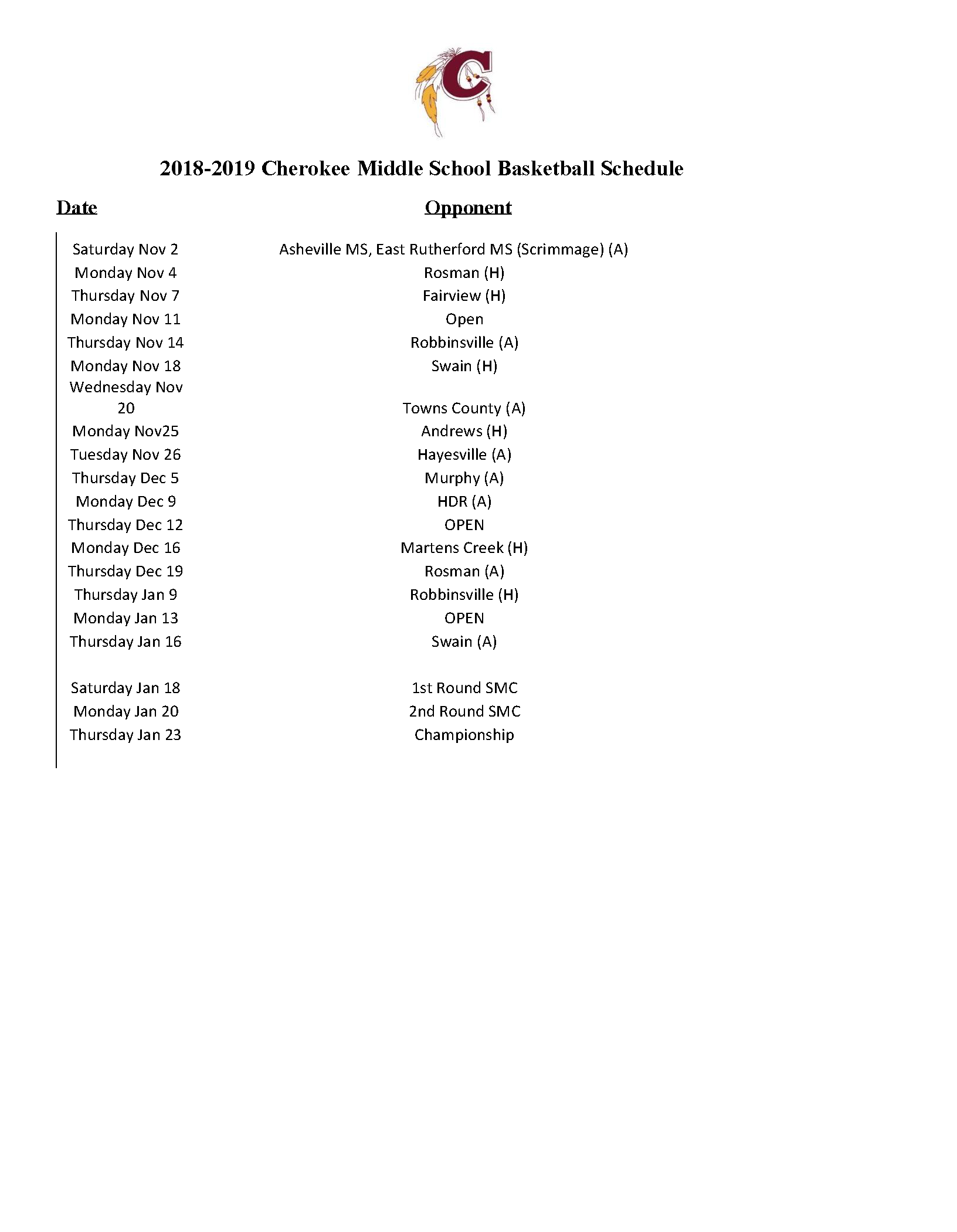 2019-2020 CMS Basketball Schedule