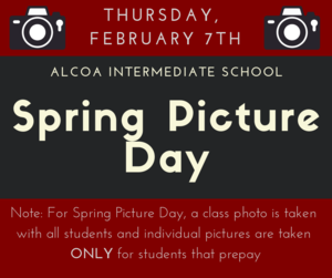 Spring Picture Day is coming up on Thursday, February 7th.  Only students that have prepaid will have their individual pictures taken but all students will have a class photo taken.