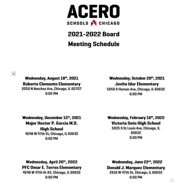 2021-2022 Board Meeting Dates