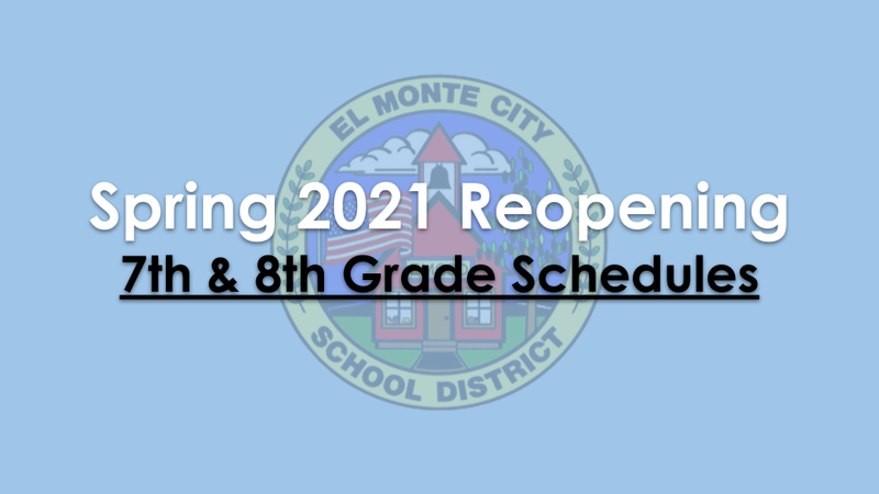 Graphic for 2021 Spring Reopening Plan - 7th and 8th Grade Schedules