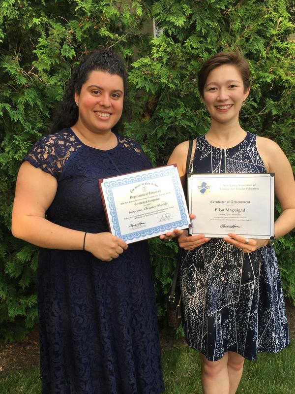 UC's Mrs. Catarina Portillo and Ms. Elisa Maguigad were honored at N.J. Distinguished Clinical Intern & Cooperating Teacher Awards Ceremony Thumbnail Image