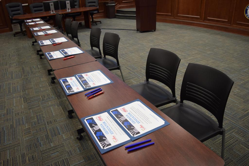 Georgia Future Educator Signing Day setup in CCBOE board room