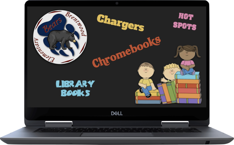 Library books and Chromebook return clipart