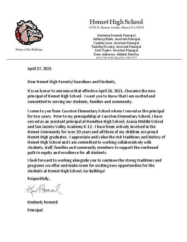 K Romeril's Intro Letter