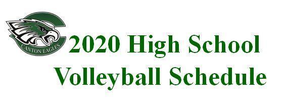 2020 High School Volleyball Schedule