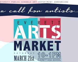 Arts Market flyer, with lightly shaded color shapes with text over the top