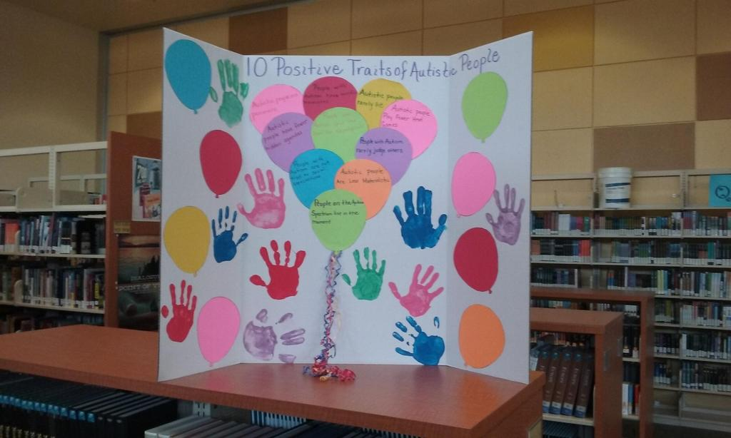 Students prepared Autism poster using their hand prints