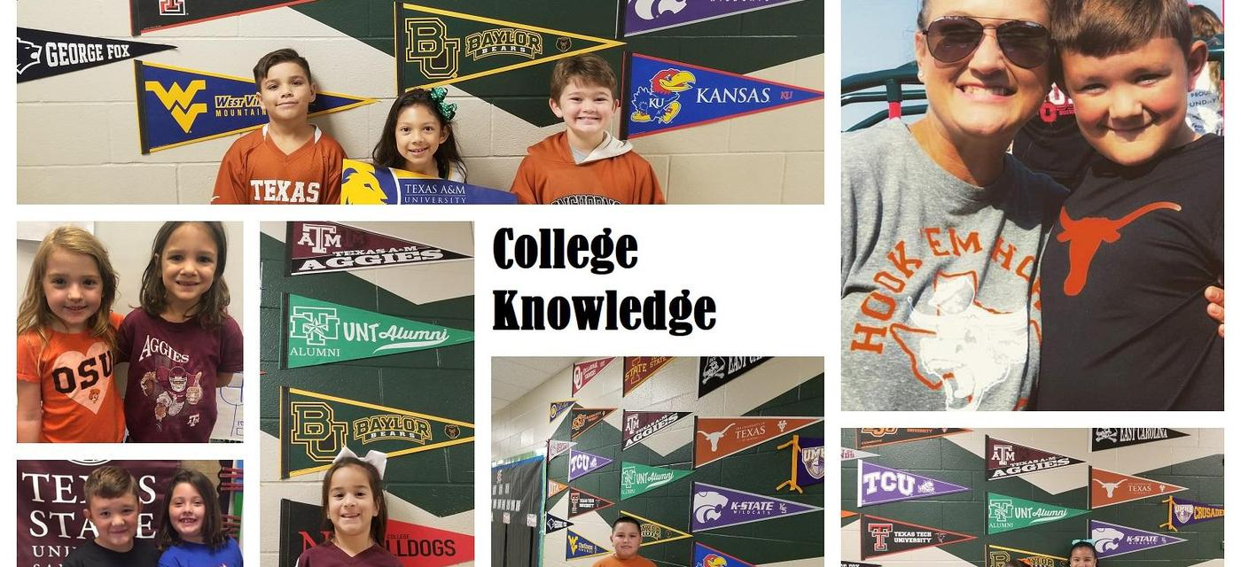 Collage of students wearing college shirts