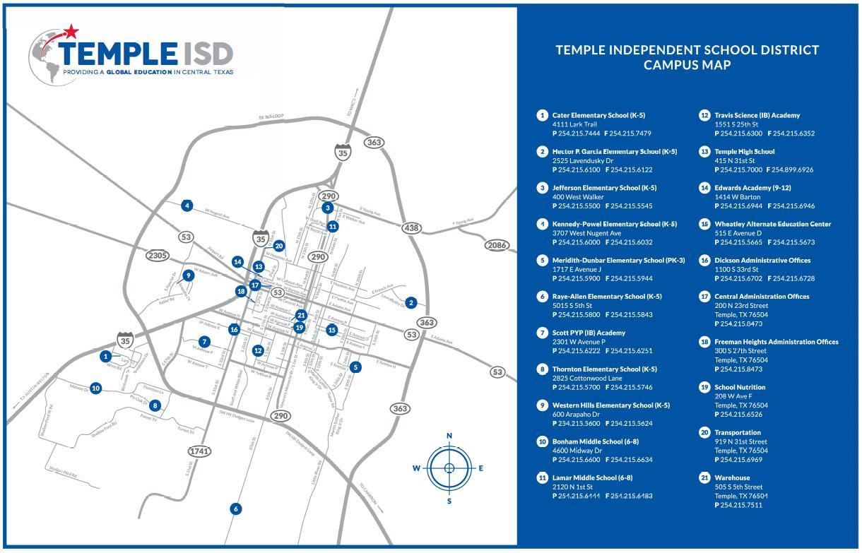 Temple Tx Zip Code Map.District Map District Map Temple Independent School District
