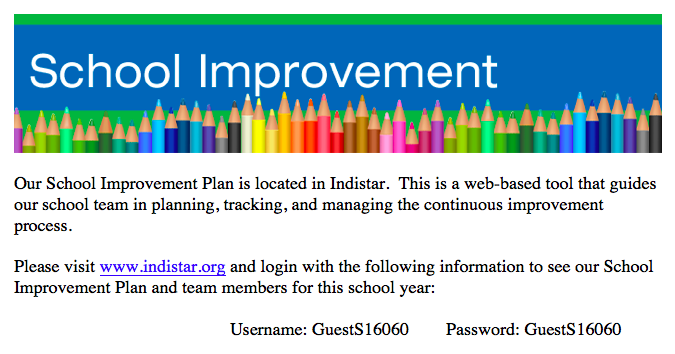 School Improvement Website information