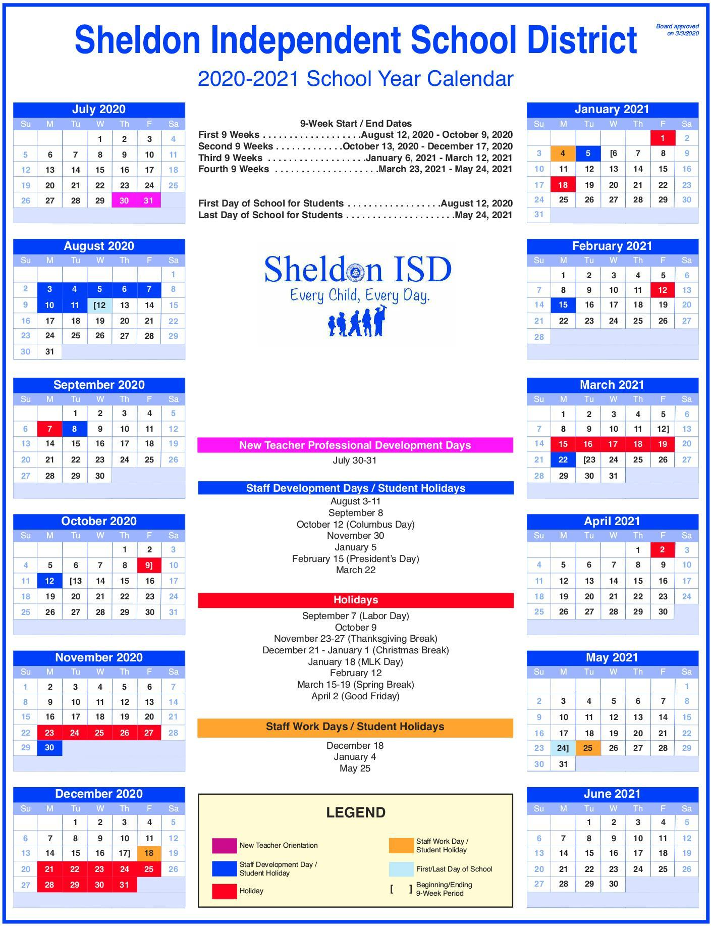 sheldon_isd_2020_2021_school_year_calendar_art