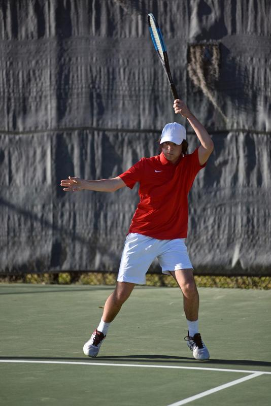 Glynn Academy's David Thompson competes at No. 1 singles against Bradwell Institute on Tuesday at the GA tennis courts.