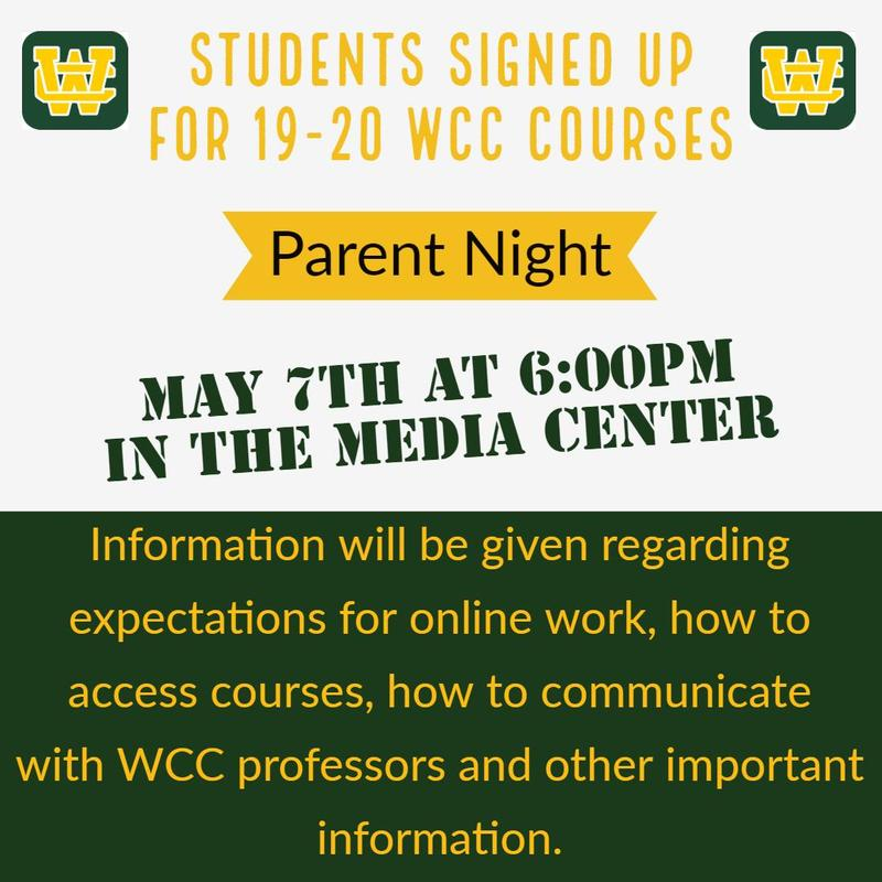 Students with 19-20 WCC Courses Parent Night Thumbnail Image