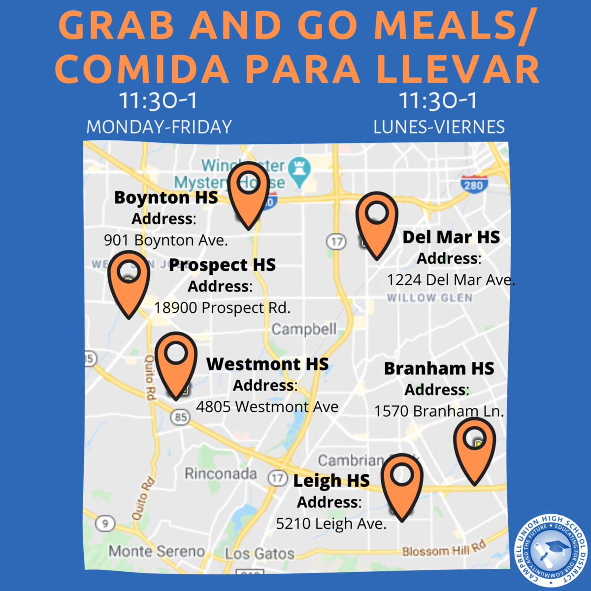 flyer promoting free meals to students during coronavirus, monday to friday