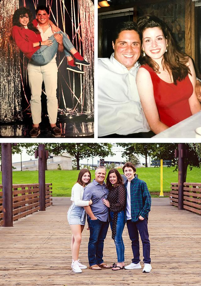 Lou and Tina (Rizzo) Turner `89 in high school, and their family today