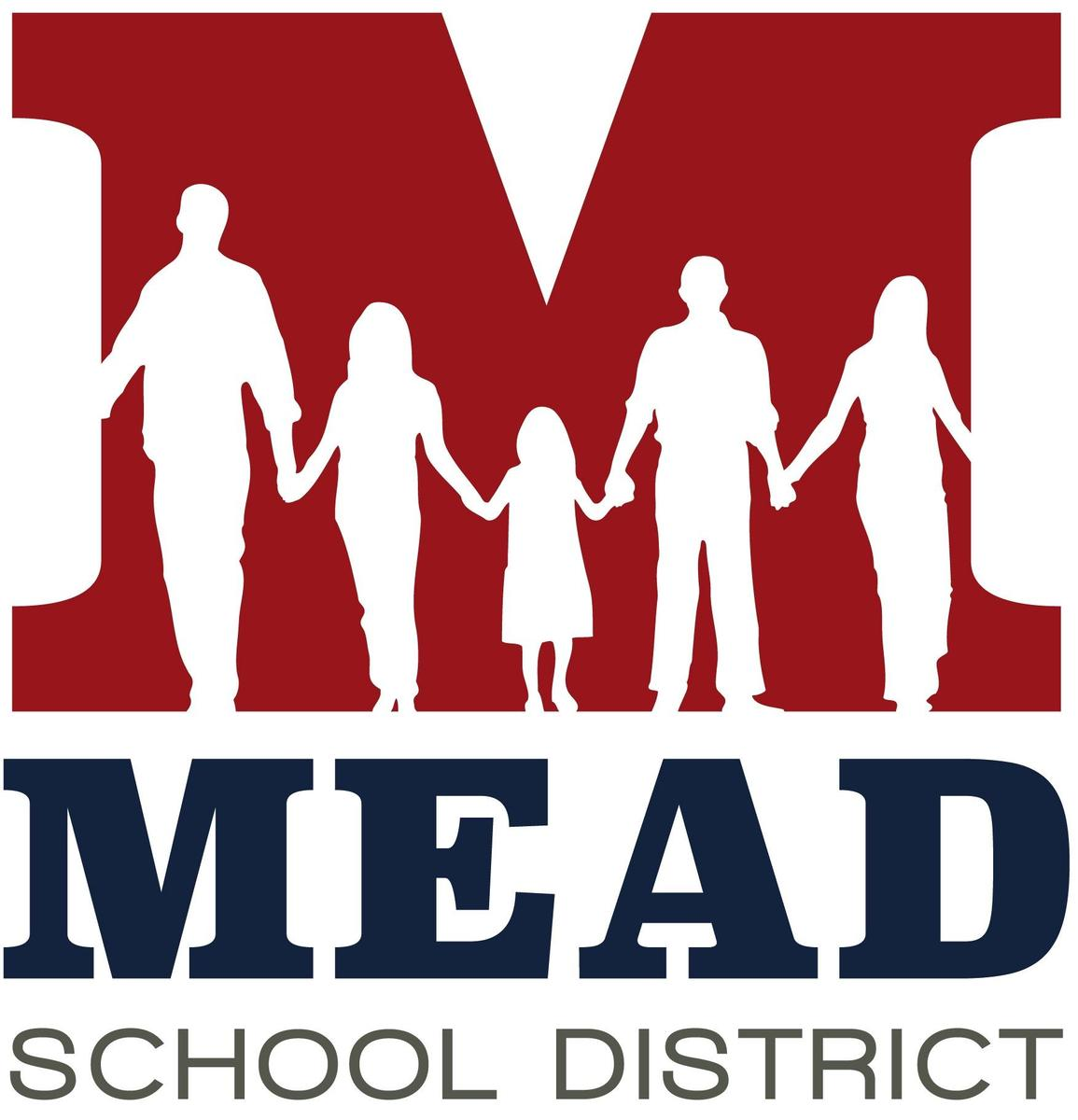 "Mead Logo- Large, red capital ""M"" with a family sihlouetted in the M."