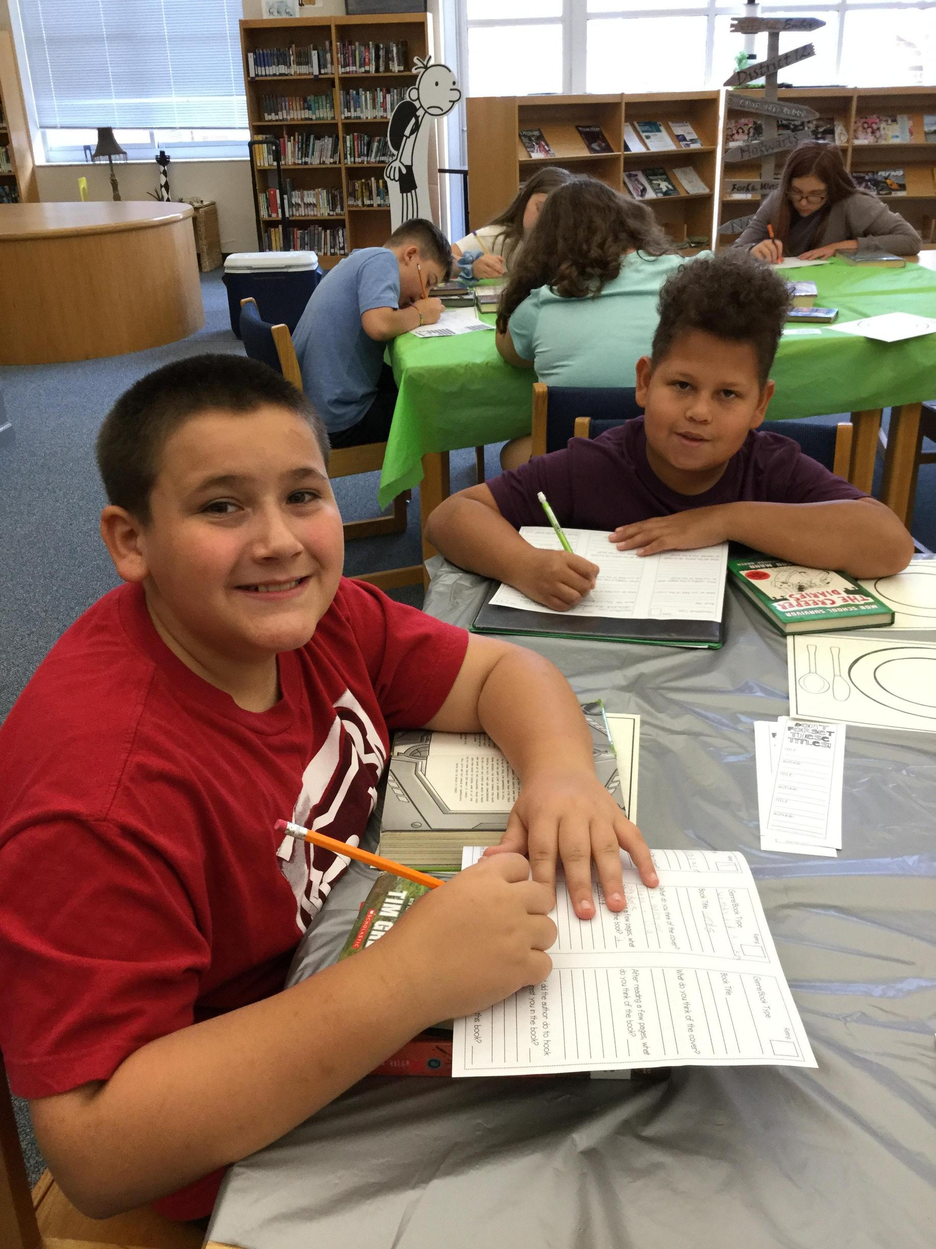 Students writing about a book