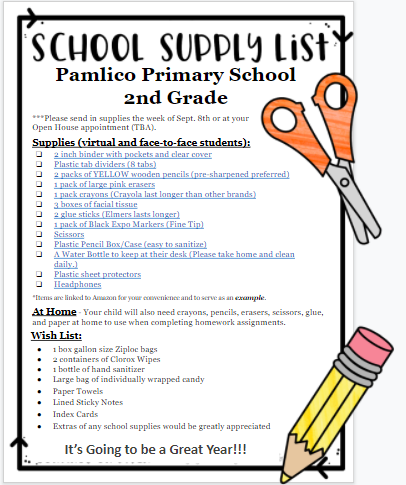 2nd grade school supply list