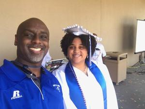Principal Hill and Valedictorian Tierny Sterling
