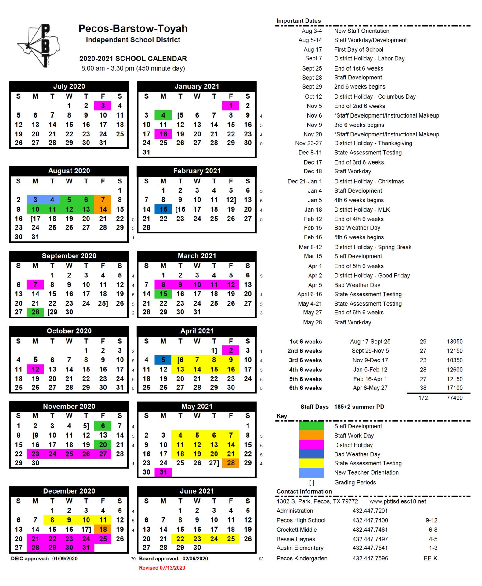 School Calendar - Revised