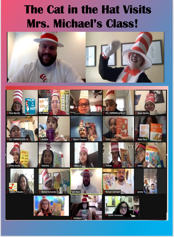 Zoom class wearing cat in the hat hats