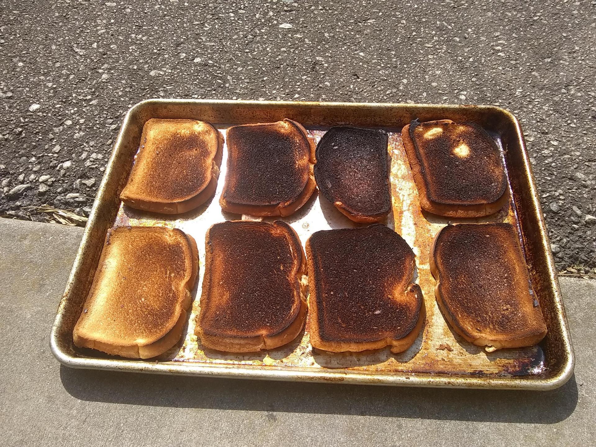 a pan of burned toast