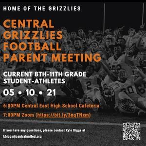 Parent meeting for Central East Football for 21-22 school year