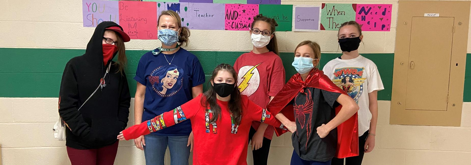 students dressed up as super heros