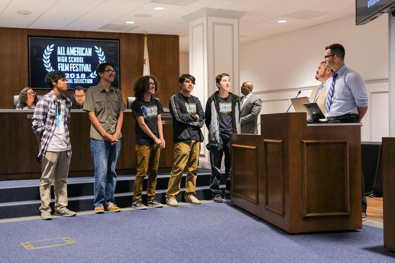Village Academy Principal Joe Biagioni and Teacher Thomas Reed introduced future film writers, directors and producers from our very own Village Academy.