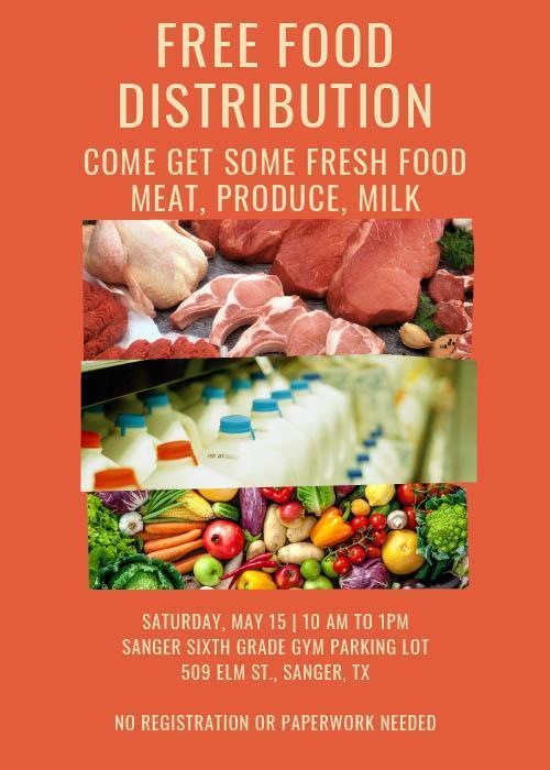 Free food distribution on may 15th at Sanger Sixth-grade 10am -1pm