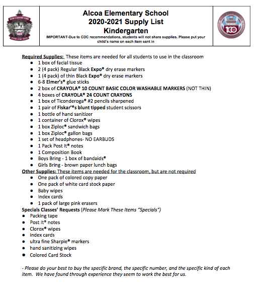 Kindergarten Supply List 2020-21