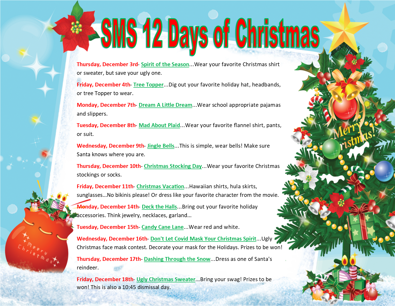 Join us in celebrating the SMS 12 Days of Christmas!